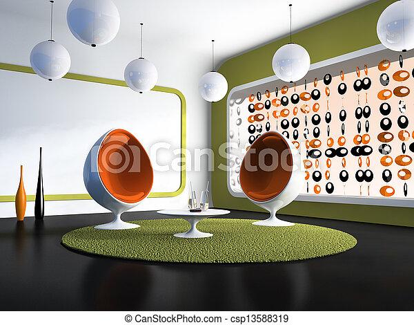 chaises, intérieur, blanc, moderne, table - csp13588319