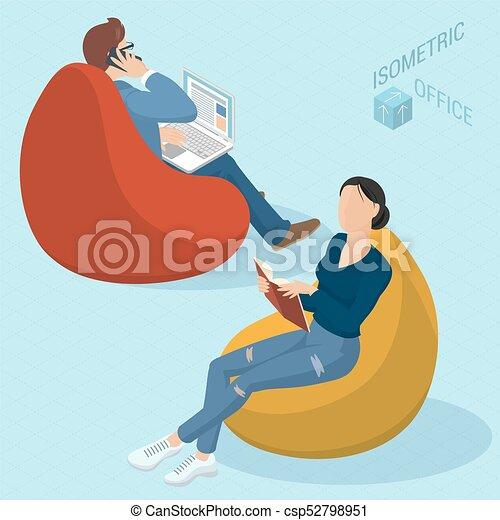 chaises, sac, haricot, séance gens - csp52798951