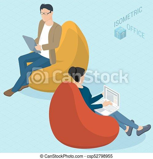 chaises, sac, haricot, séance gens - csp52798955