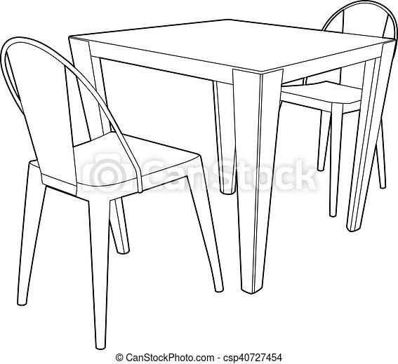 chaises table deux dessin meubles eps illustration. Black Bedroom Furniture Sets. Home Design Ideas