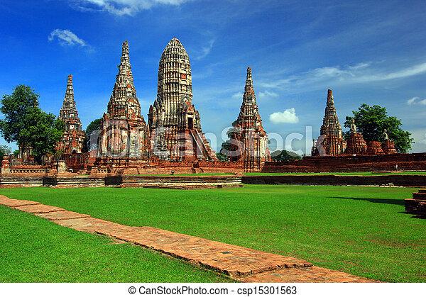 Chaiwattanaram temple in Ayutthaya Historical Park, Thailand - csp15301563