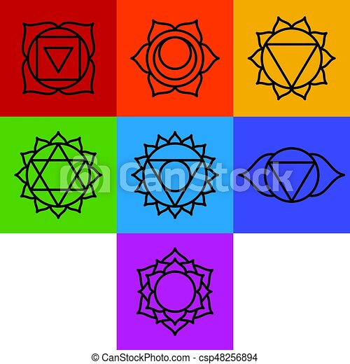 chakra, simboli, sette, set - csp48256894
