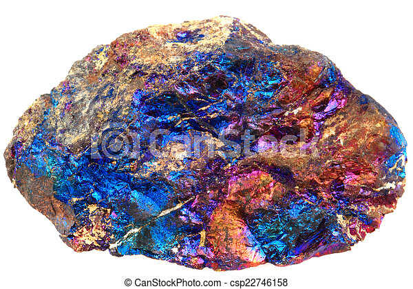 chalcopyrite mineral  isolated on the white background - csp22746158