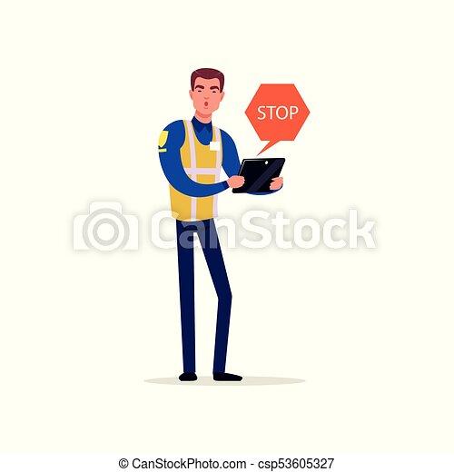 Oficial de la policía de tráfico en uniforme con chaleco de alta visibilidad demandando parar, personaje de policía en vector de trabajo Ilustración - csp53605327