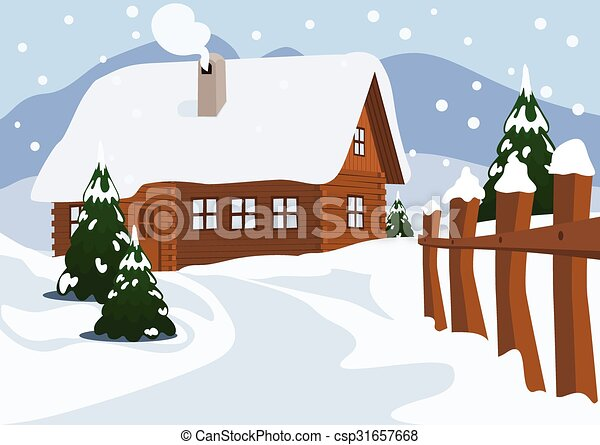 Chalet in Winter, Vector Illustration - csp31657668