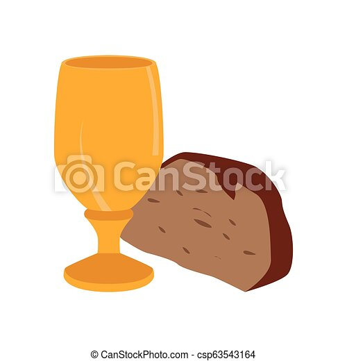 Chalice with bread piece - csp63543164