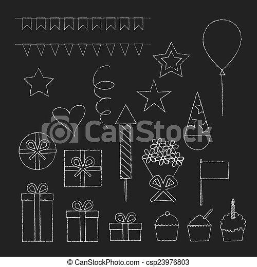 Chalk birthday party icons set - csp23976803
