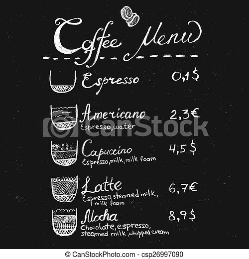 Chalk Coffee Menu Lettering Vector Hand Drawn Chalk Coffee  Eps