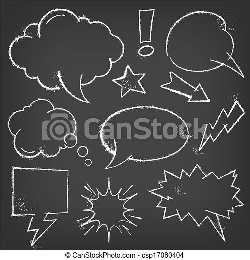Chalk Comic bubbles and elements on a blackboard - csp17080404