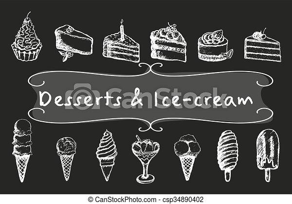 Chalk desserts and ice-cream set. - csp34890402