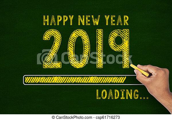 Chalk Drawing: New year 2019 loading on Blackboard - csp61716273