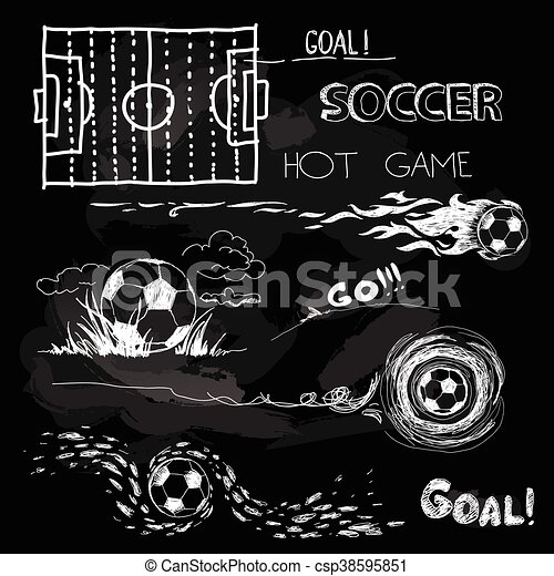 Chalk Illustration of soccer ball and elements - csp38595851
