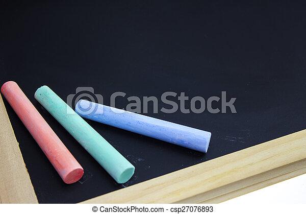 chalk on school blackboard - csp27076893