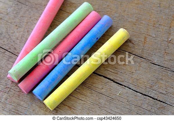 Chalk on wood texture. - csp43424650