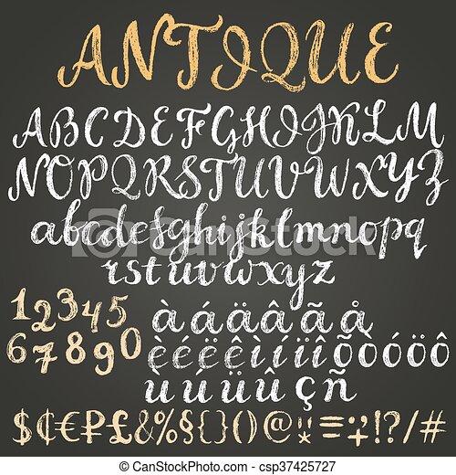 Chalk script latin alphabet - csp37425727