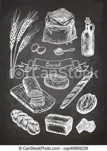 Chalk sketch of breads. - csp49969238