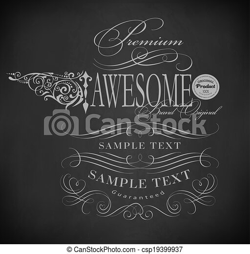 Chalk  typography, calligraphic design elements - csp19399937