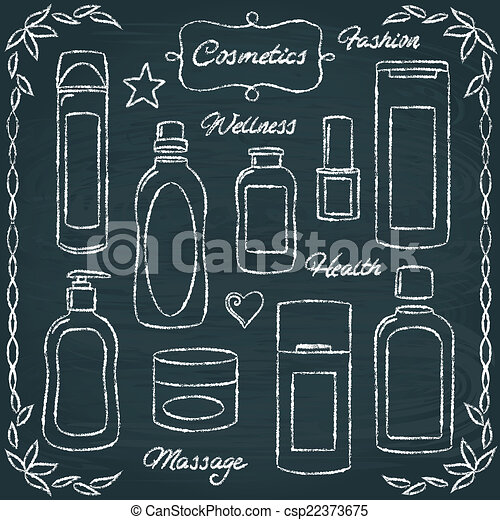 Chalkboard cosmetic bottles set 2 - csp22373675