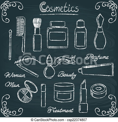 Chalkboard cosmetic bottles set 3 - csp22374807