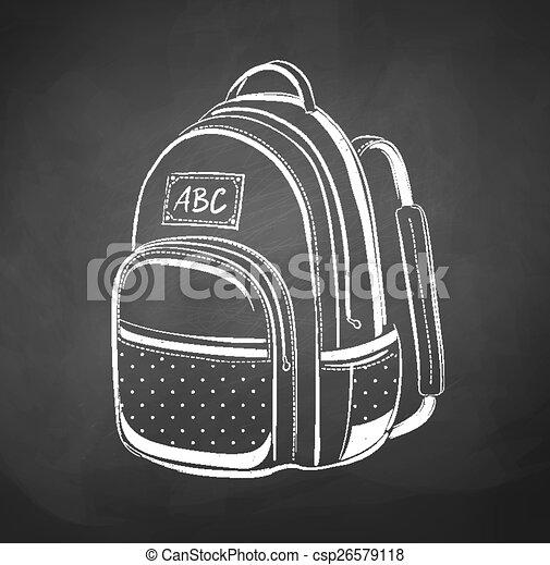 Chalkboard drawing of school bag - csp26579118