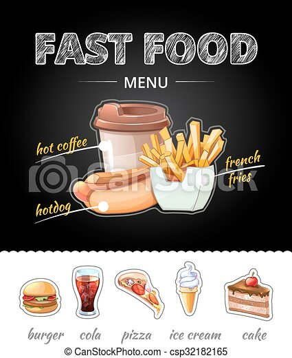 Publicidad de comida rápida en la pizarra. Ilustración de vectores - csp32182165