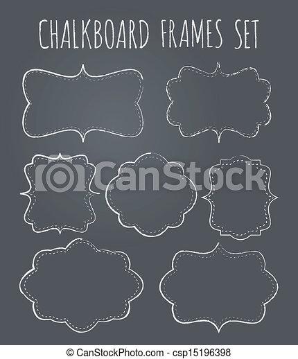 Chalkboard frames collection. A set of seven vintage chalkboard ...