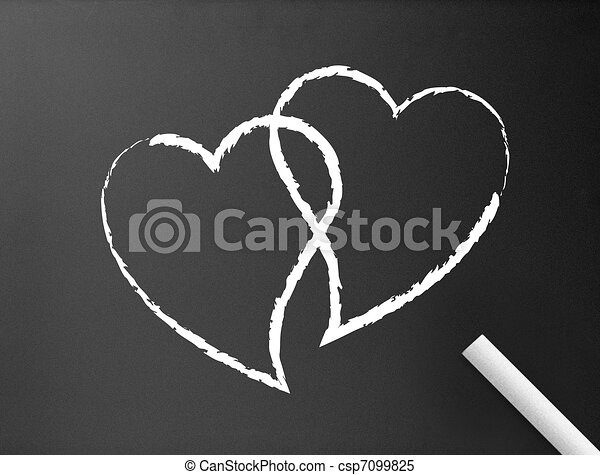 Line Art Of Heart : Chalkboard hearts. dark background with two stock