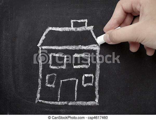 chalkboard house home real estate architecture construction - csp4617460