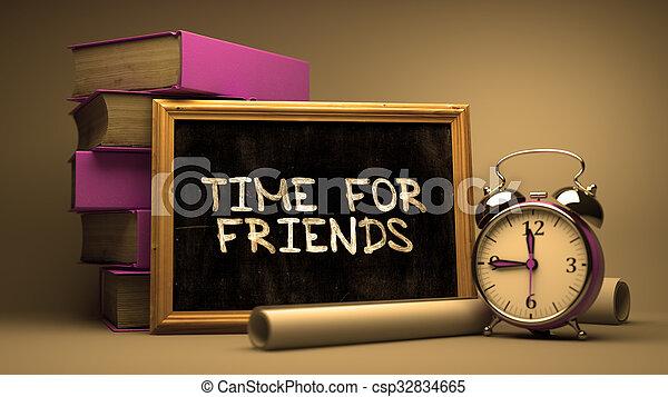chalkboard., manuscrit, amis, temps - csp32834665
