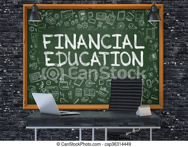 Chalkboard On The Office Wall With Financial Education Concept.    Csp36314449