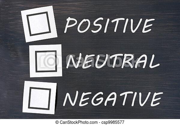 chalkboard, positivo, neutro, realimentação, negativo - csp9985577