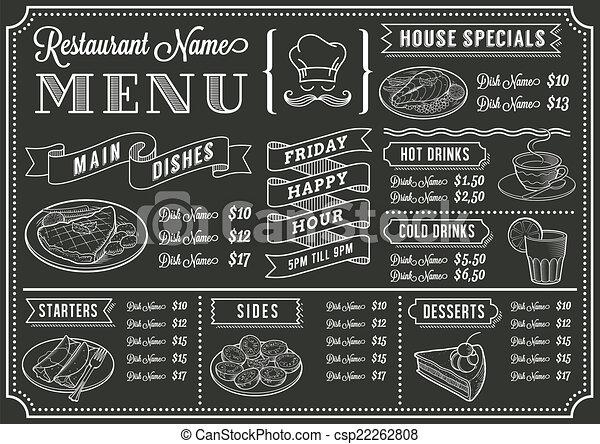 Chalkboard Restaurant Menu Template - csp22262808
