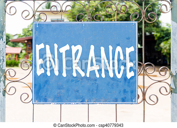 Chalkboard sign in front of house - csp40779343
