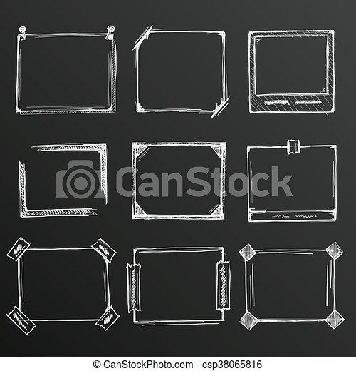 Chalkboard Sketch Of Hand Drawn Frame Set Template Design Element Vector Illustration