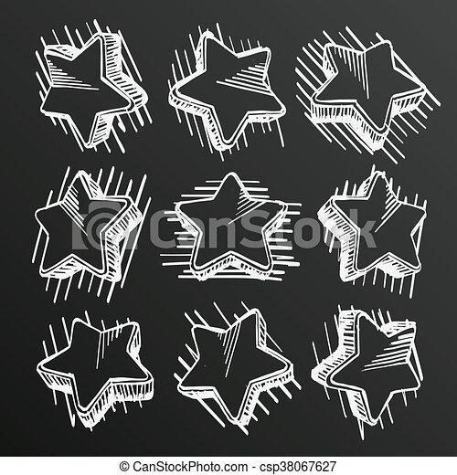 Chalkboard Sketch Of Hand Drawn Star Set Template Design Element Vector Illustration
