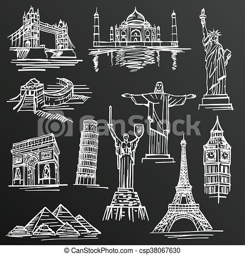 Chalkboard Sketch Of Hand Drawn Tourist Places Template Design Element Vector Illustration