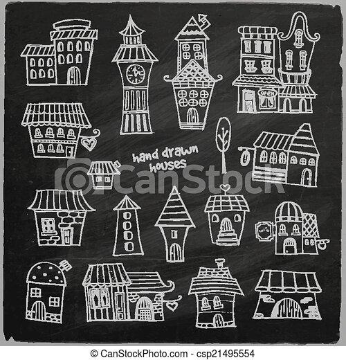 chalkboard vector fairy tale houses - csp21495554