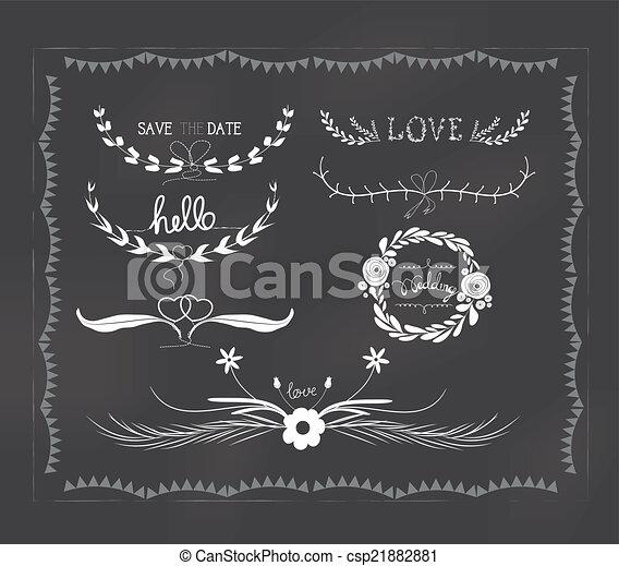 chalkboard wedding, florals vintage - csp21882881