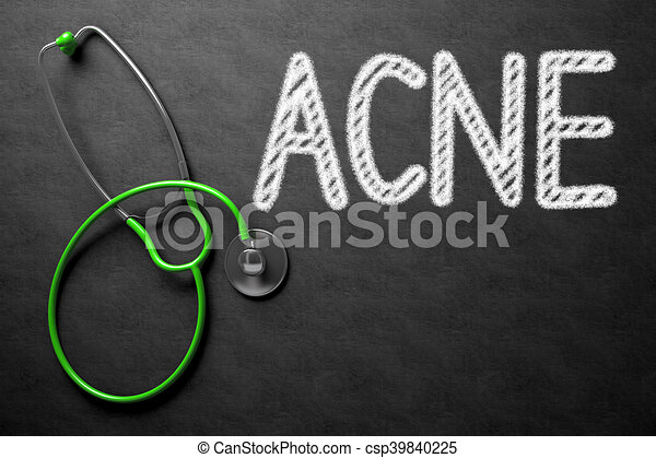 Chalkboard with Acne. 3D Illustration. - csp39840225