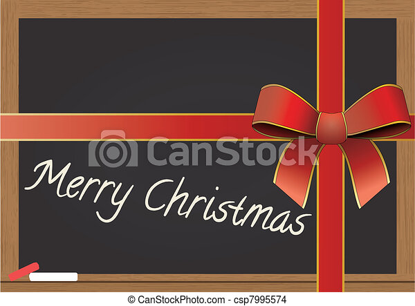 chalkboard with tied ribbon - csp7995574
