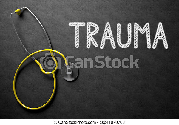 Chalkboard with Trauma. 3D Illustration. - csp41070763