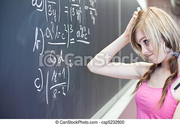 Ein hübscher, junger College-Student, der während eines Matheunterrichts auf die Tafel und die Tafel schrieb (Shallow DOF), farbiges Bild - csp5232800