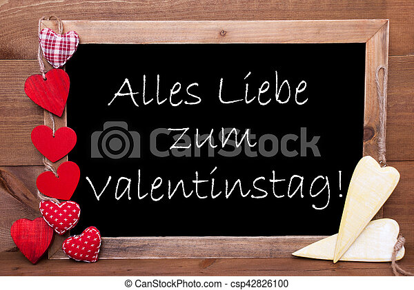 Chalkbord, Hearts, Valentinstag Means Valentines Day   Csp42826100
