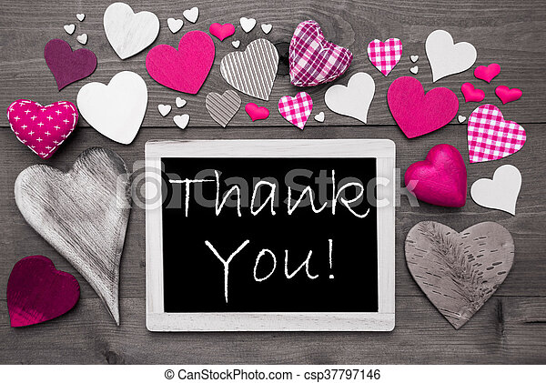 Chalkbord With Many Pink Hearts, Thank You - csp37797146