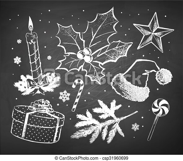 Christmas Sketches.Chalked Christmas Sketches Collection