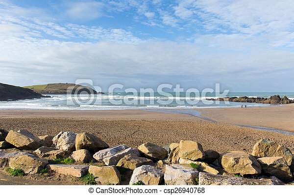 Challaborough beach South Devon uk - csp26940768