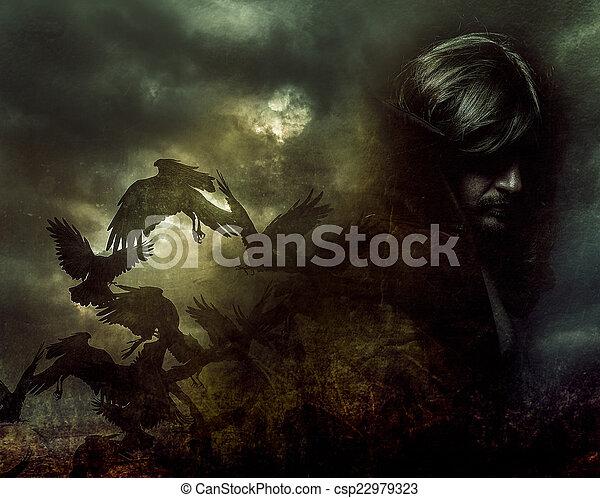 chamarra, pelo largo, paranormal, negro - csp22979323