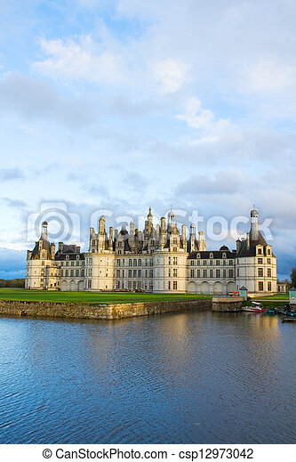 Chambord chateau at sunset, France - csp12973042