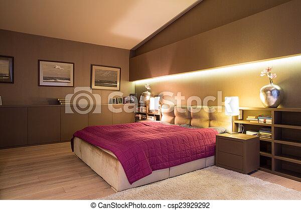 chambre à coucher, confortable - csp23929292