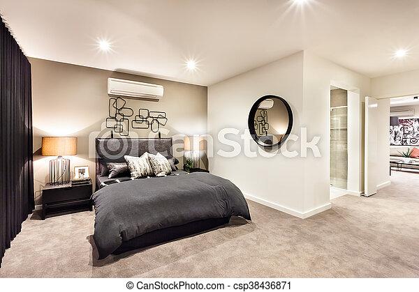 Chambre à coucher, couloir, moderne, rond, miroir. Couloir, maison ...